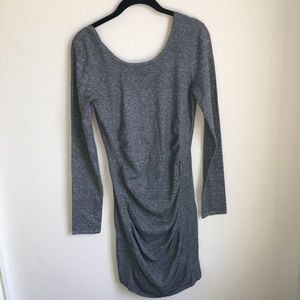 Gray Ruched sweater dress